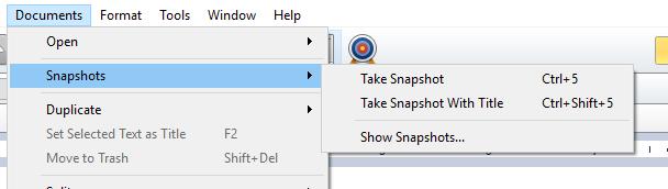 Document menu for snapshots