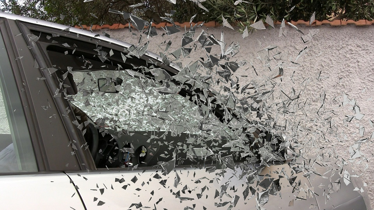 shattered glass from a car wreck