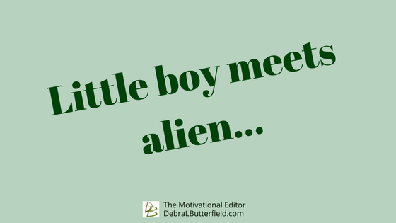 Premise. Little boy meets alien.