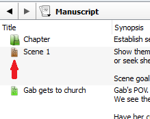 Scrivener outline mode document shortcut