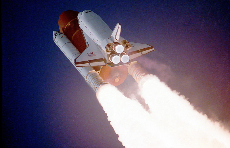 Space Shuttle launch. Essential elements of fiction writing.